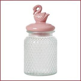 Rice Medium Glazen Pot met luchtdichte 'Pink Swan' deksel