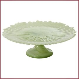 Rice Alabaster Glass Cake Stand in Pastel Green
