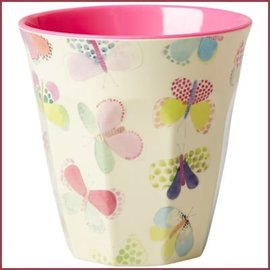 Rice Rice Cup TwoTone Butterfly Pink Print