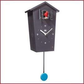 KooKoo Wandklok Birdhouse Black