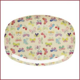 Rice Rice Rectangular Plate with Butterfly Print