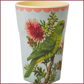 Rice Rice Cup Two Tone Tall - Vintage Parakeet Print