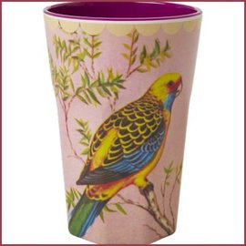 Rice Rice Tall Cup VIntage Budgie Print
