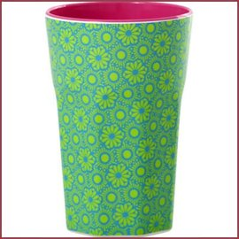 Rice Rice Two Tone Tall Cup with Green and Turquoise Marrakesh Print