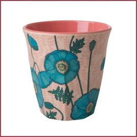 Rice Rice Cup Two Tone Blue Poppy print