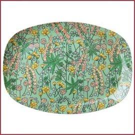 Rice Rice Rectangular Plate with Lupin Print