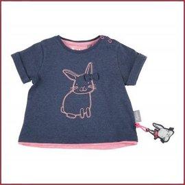 Sigikid T-Shirt blauw melange, roze rand met konijntje