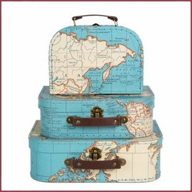 Craenen Koffer RETRO vintage world map