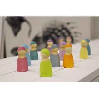 Grimm's 12 houten regenboogvriendjes Pastel