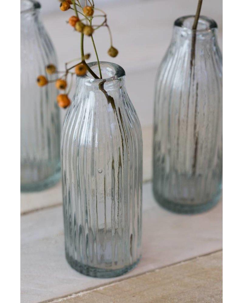 RIBBED GLASS MILK BOTTLE