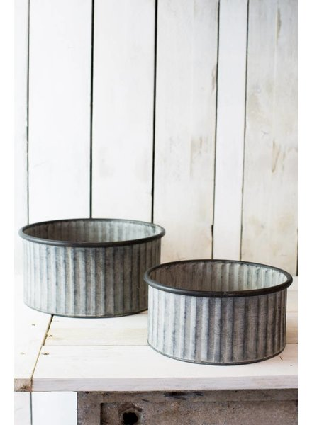 PAIR OF GALVANISED ZINC TUBS