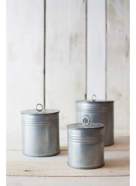TRIO OF GALVANISED POTS