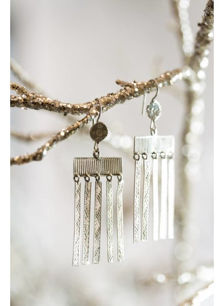 SILVER COLUMN DROP EARRINGS