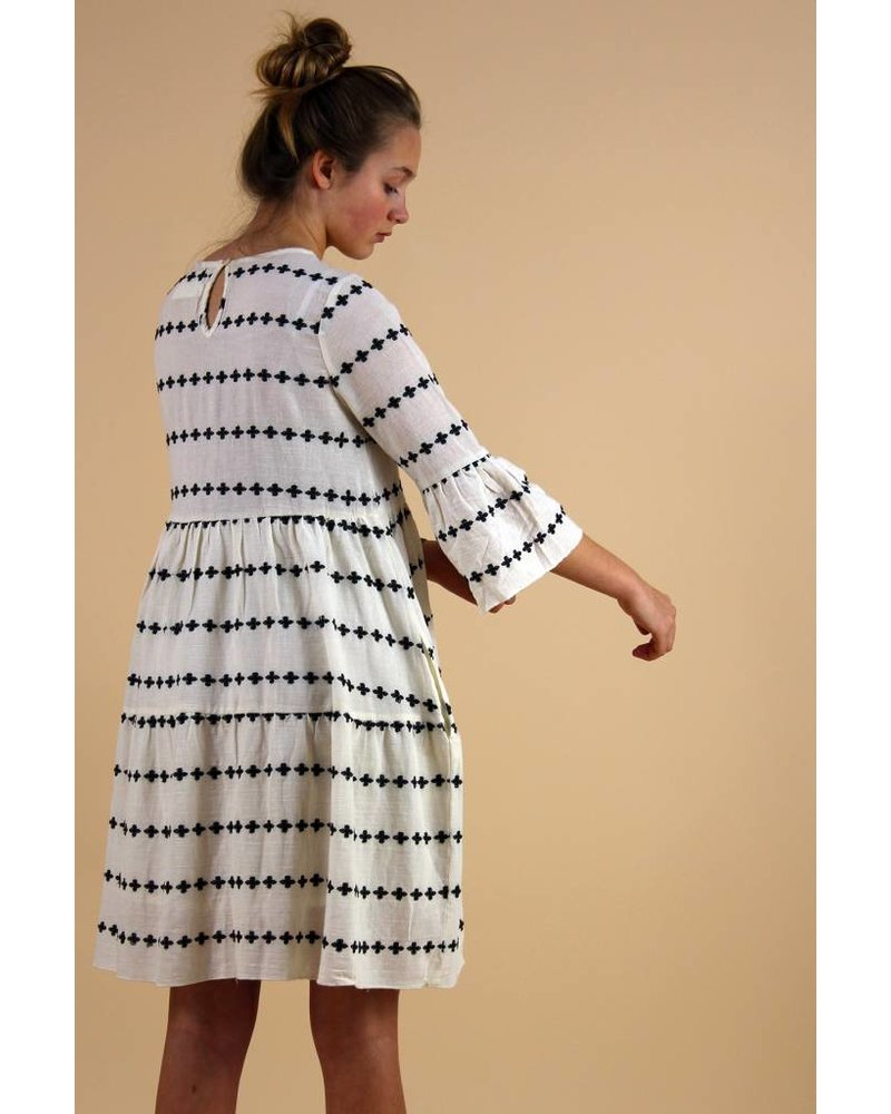 MAYA EMBROIDERED SMOCK DRESS