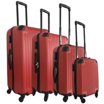 Royalty Rolls vier delige harde ABS kofferset / trolleyset rood