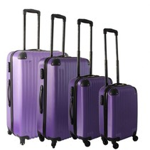 Royalty Rolls vier delige harde ABS kofferset / trolleyset paars