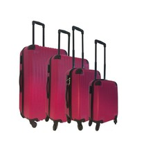 Royalty Rolls vier delige harde ABS kofferset / trolleyset roze