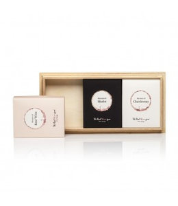 The Real Wine Gum Trio Chardonnay, Merlot & Rose on wood