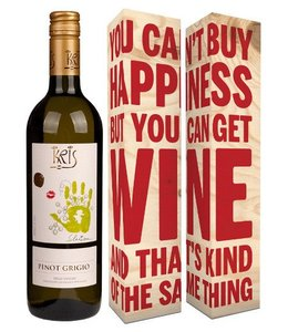 "Franz Haas Fles Kris Pinot Grigio + verpakking ""You can't buy hapiness..."""