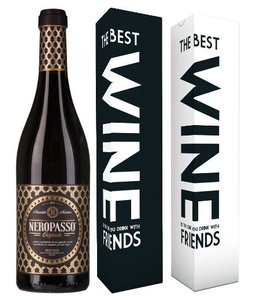 "Mabis Fles Neropasso + verpakking ""The best wine is the one..."""