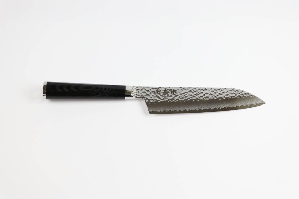 RYUSEN TANGANRYU Micarta Black Santoku 170 mm TG-504