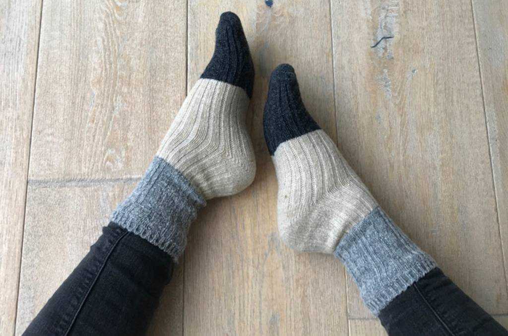 "Warme Winterwollsocken ""grau-beige-anthrazit"""