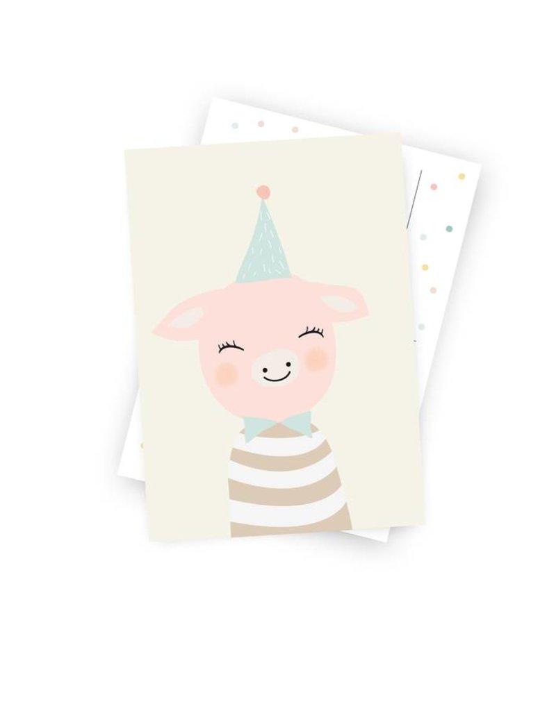 Poskarte Frau von Schwein-Original Mimirella Illustration
