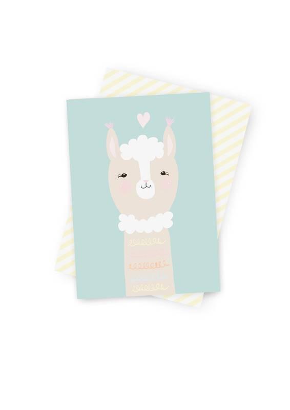Poskarte Ava Alpaca-Original Mimirella Illustration