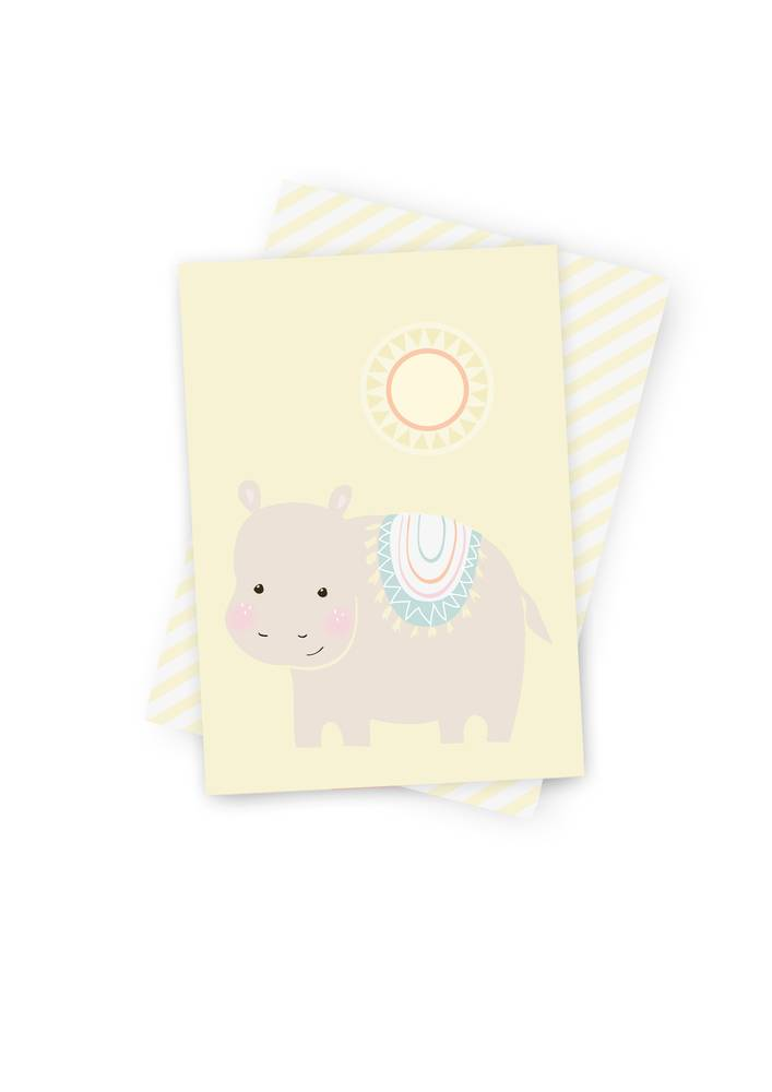 Poskarte Hippie Hippo-Original Mimirella Illustration
