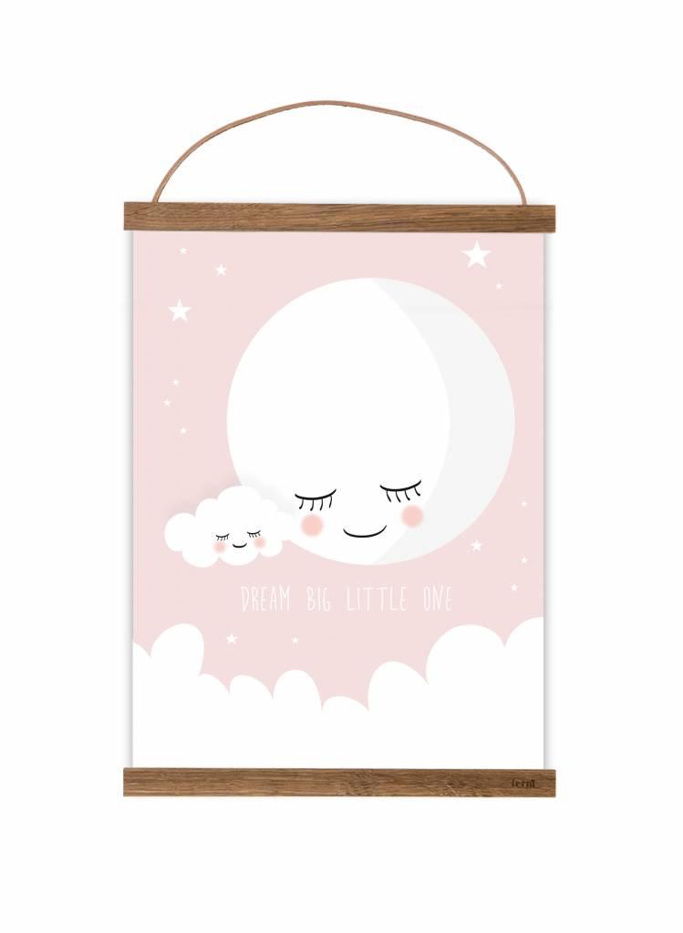 Poster Füru0027s Kinderzimmer  Mond Rosa