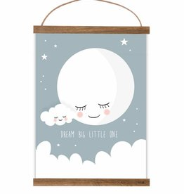 Poster Mond taubenblau