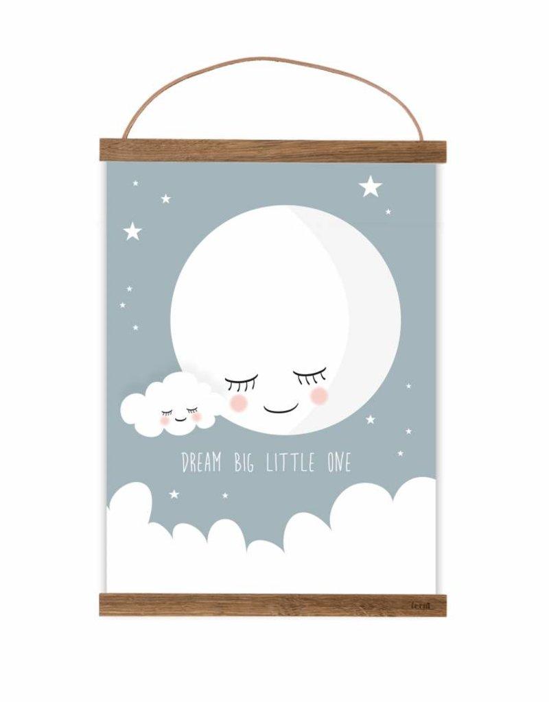 Poster für's Kinderzimmer-Mond taubenblau