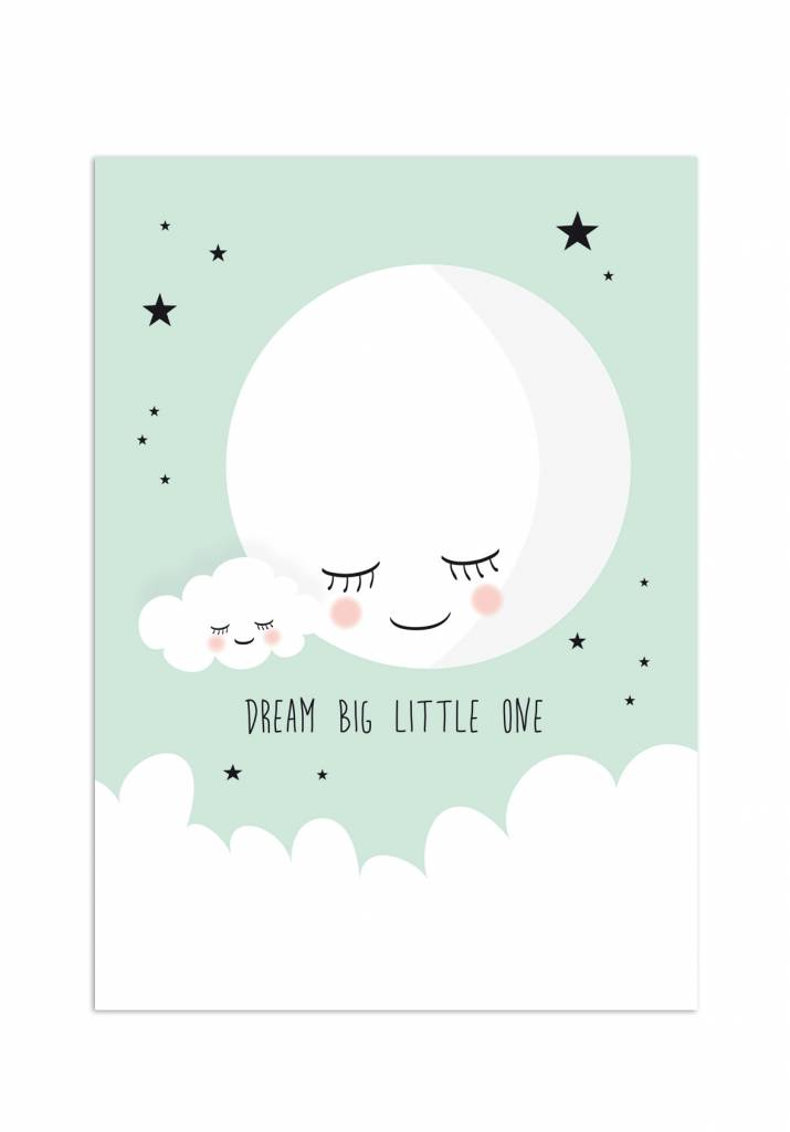 Poster für's Kinderzimmer - Mond mint