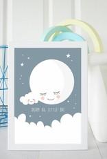 Poster für's Kinderzimmer-Mond nachtblau