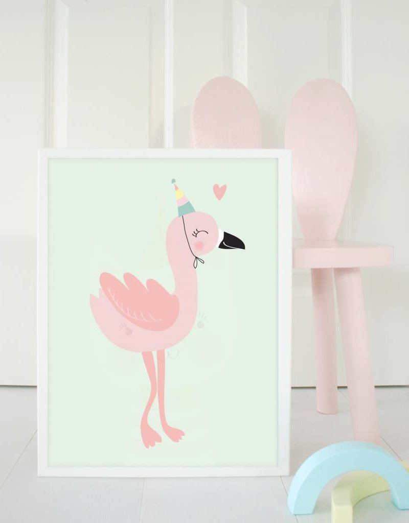Poster für's Kinderzimmer-Frieda Flamingo