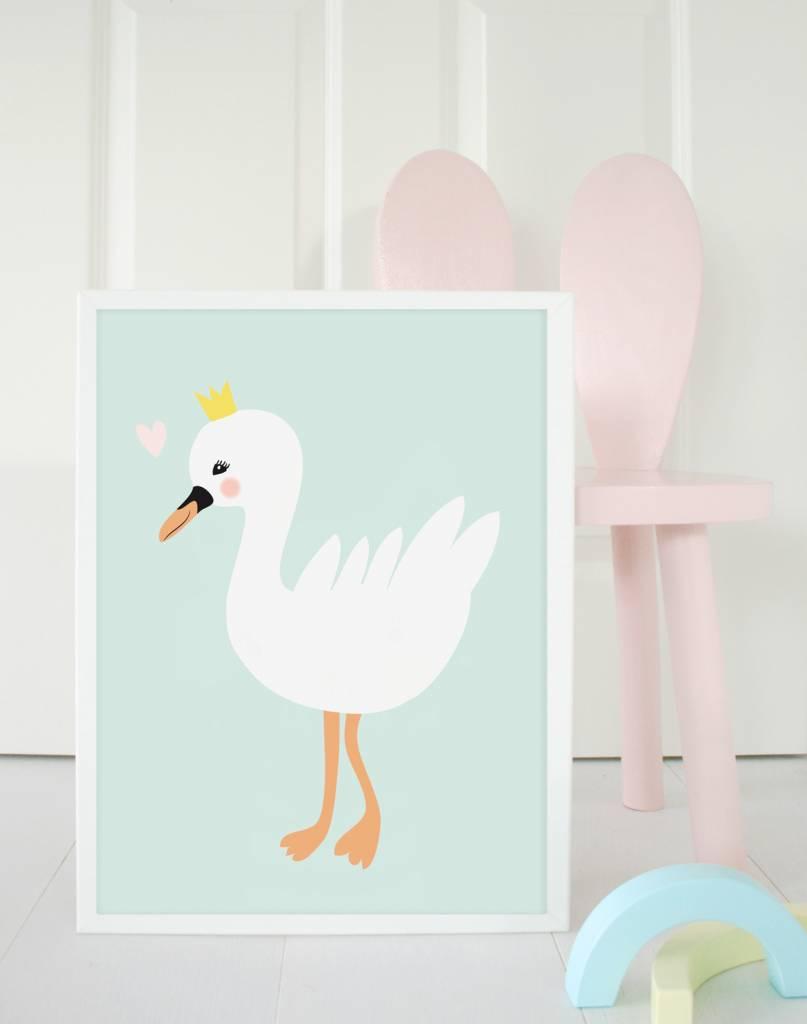 Poster für's Kinderzimmer - Kleines Schwanenmädchen