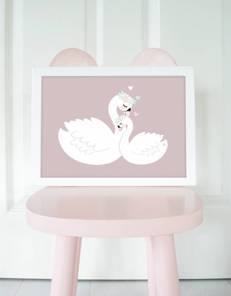 Poster für's Kinderzimmer - Schwäne