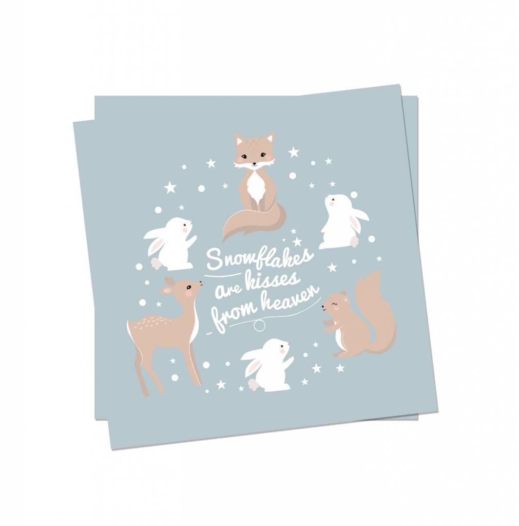 Weihnachtskarte Wintertiere- Original Mimirella Illustration