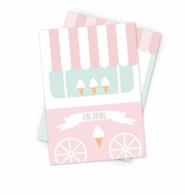 Invitation Ice Cream Party- set of 6 cards