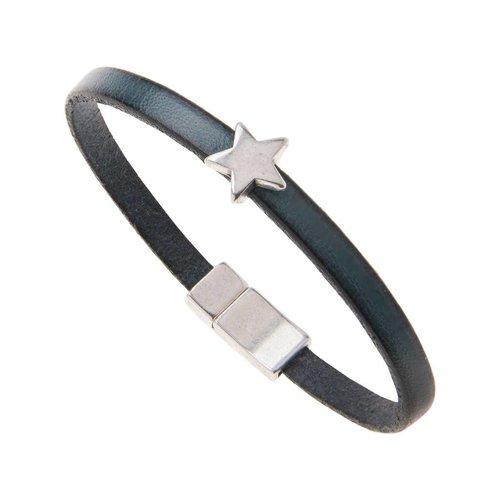 Carrie Elspeth Leather Star Charm Bracelet - Petrol