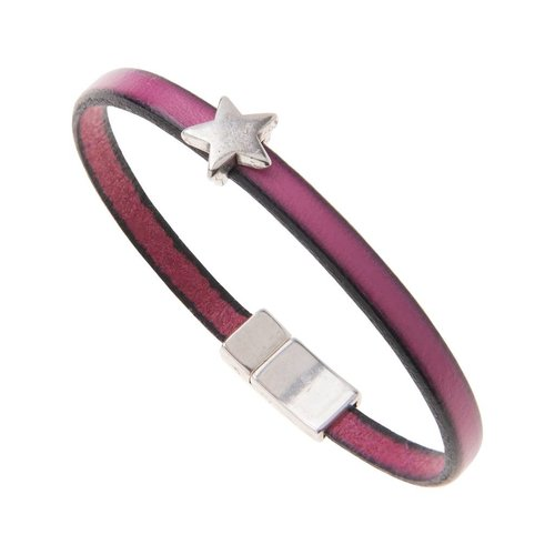 Carrie Elspeth Leather Star Charm Bracelet - Fuchsia