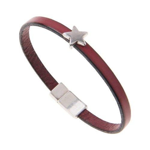 Carrie Elspeth Leather Star Charm Bracelet - Burgundy