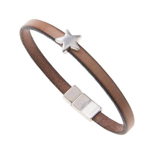 Carrie Elspeth Leather Star Charm Bracelet - Natural