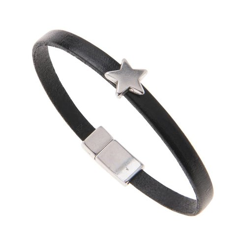 Carrie Elspeth Black Leather Star Charm Bracelet - Black