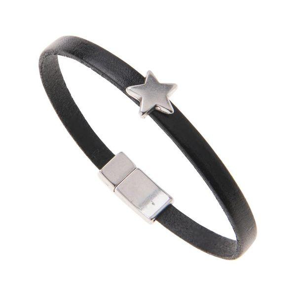 Black Leather Star Charm Bracelet - Black