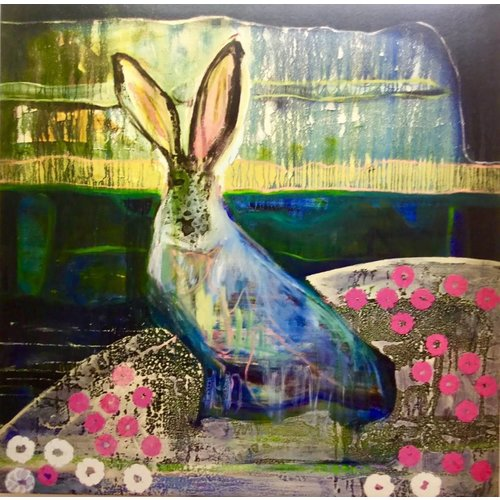 Lisa Naylor Copy of Deer 1 -  mixed media painting