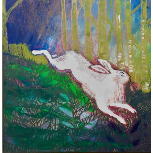 Lisa Naylor Copy of Pink Hare -  mixed media painting