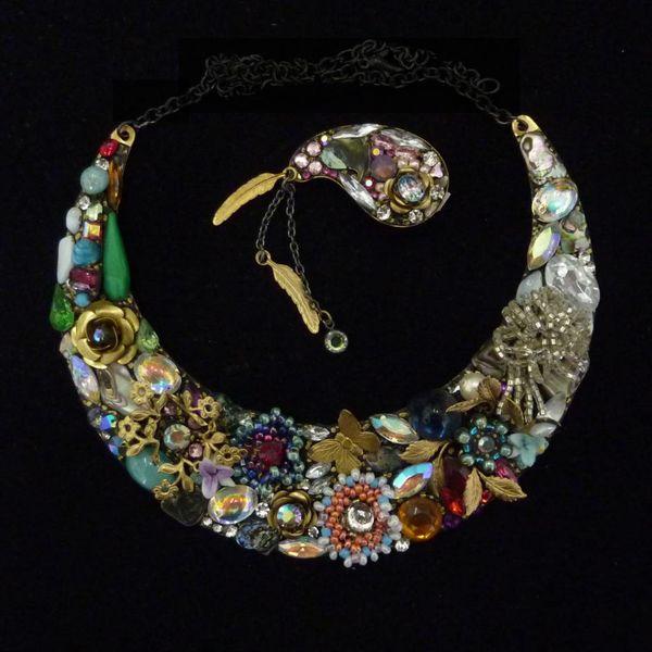 Vintage Crescent necklace crystal assemblage