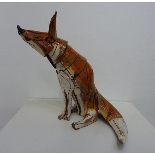 Anna-Mercedies Wear Sitting Fox 1  ceramic sculpture
