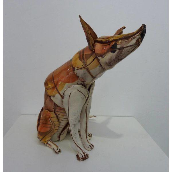 Sitting Fox 2  ceramic sculpture